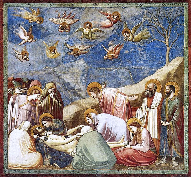 Guiotto - 1303-1304 Historias de Cristo, 20 La lamentación sobre Cristo muerto
