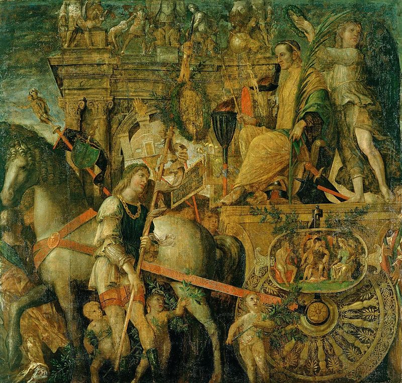 Mantegna - 1486-1492 Los triunfos, Julio César en su carruaje