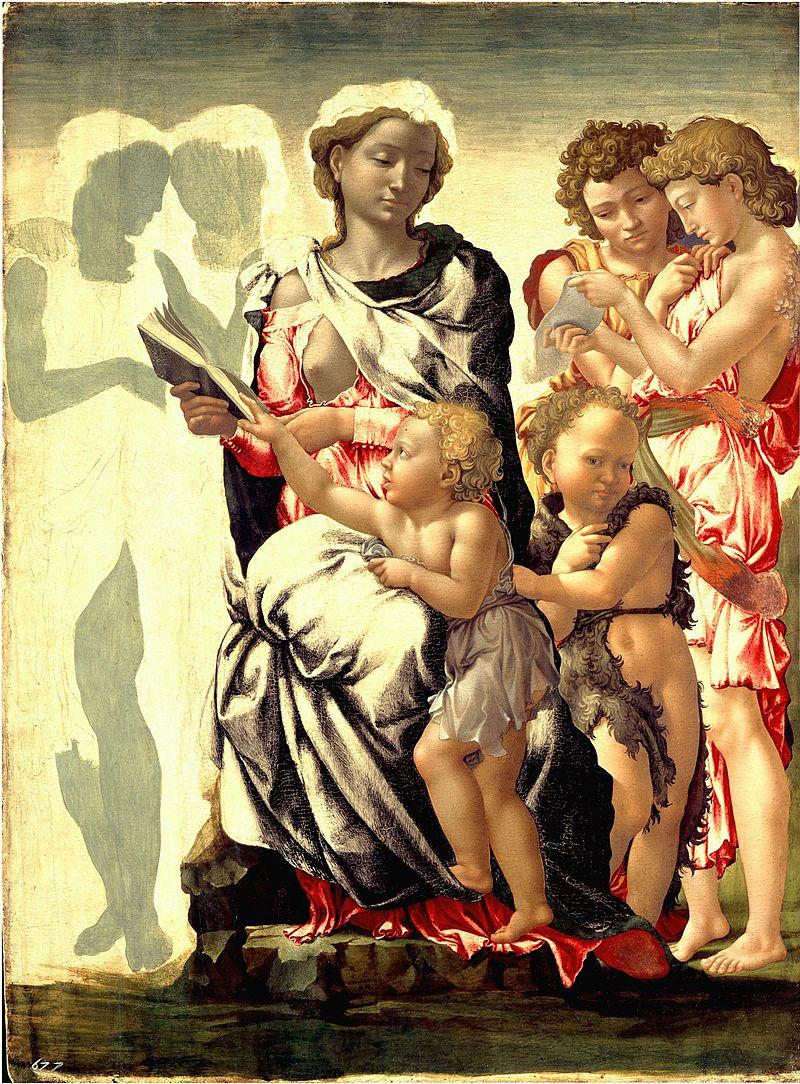 Miguel Ángel - 1495-1497 Virgen con el Niño, San Juanito y cuatro ángeles (Virgen de Manchester)