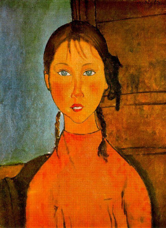 Modigliani - 1918 Chica con trenzas