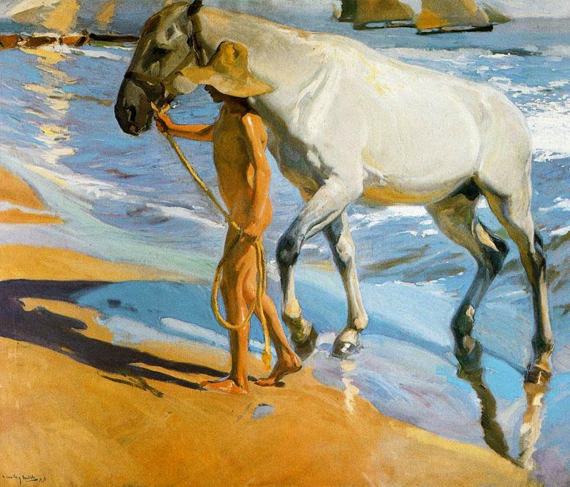 Sorolla - 1909 El baño del caballo