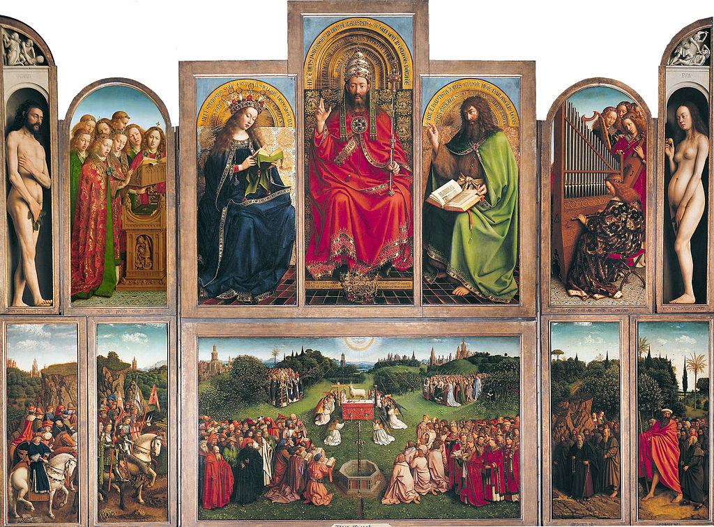 Van Eyck - 1432 Políptico de Gante, o La adoración del cordero místico